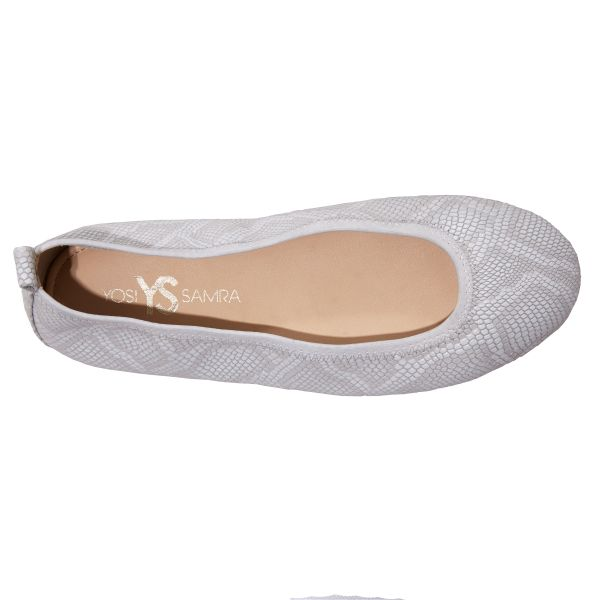 Stella Embossed Snake Leather In White - Foldable Flats