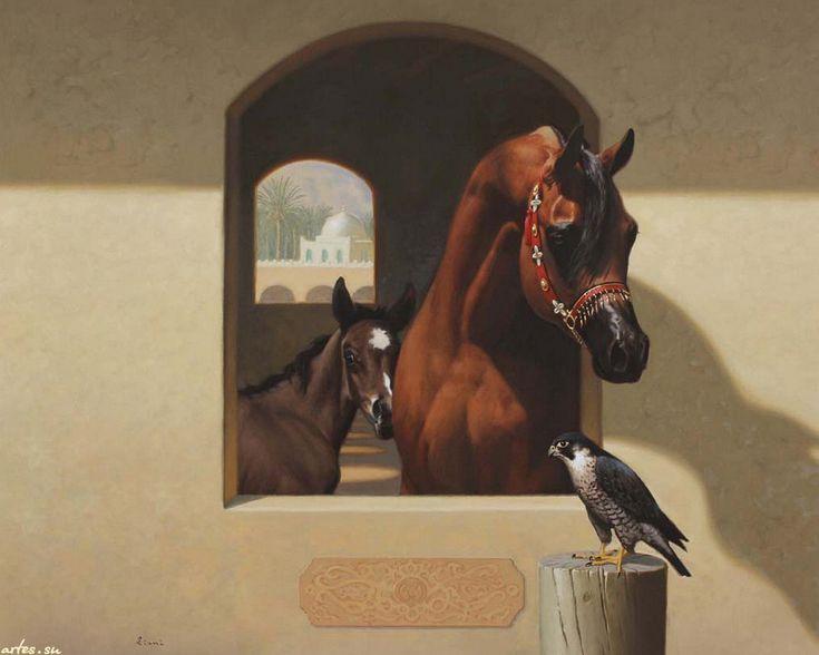 Скачать обои рисованные, лошадь, жеребенок, сокол, Hocine Ziani 1280x1024