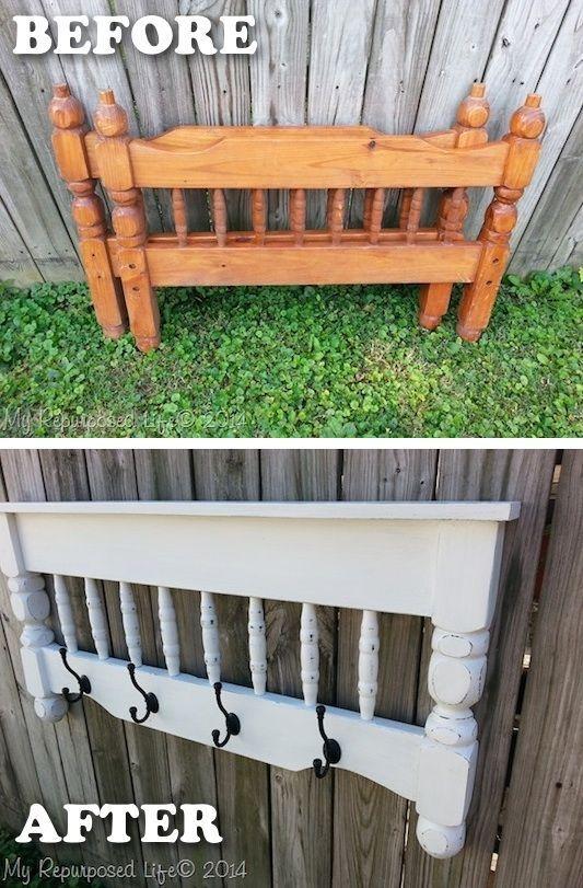 20 Creative Furniture Hacks :: Bed post to coat rack!
