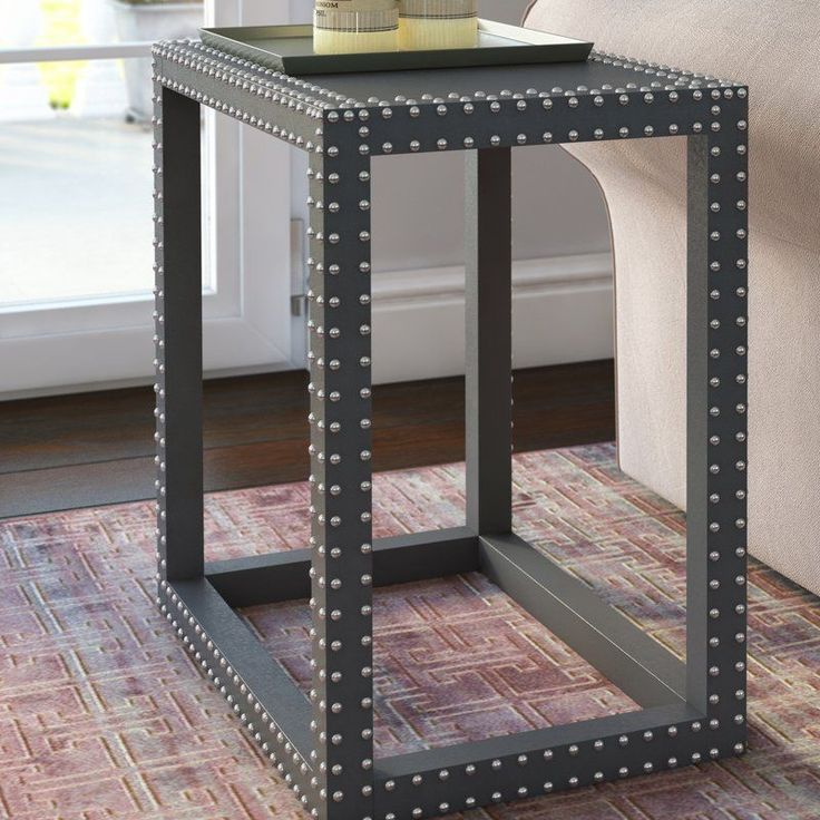 Grey Side Table Rectangular Silver Iron Nail Heads Living Room Hallway Furniture