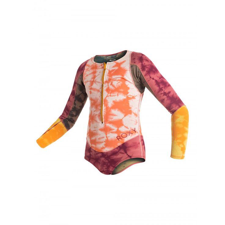 Girls 8-14 Washcapsule 1mm Front Zip Long Sleeve Bikini Springsuit ERGW403002 Roxy