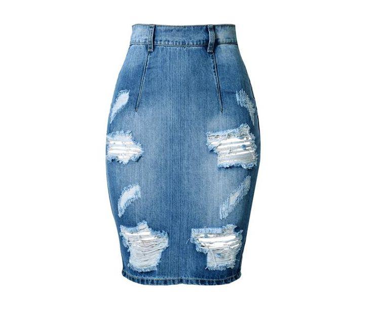 LIENZY Summer Fashion Women Denim Skirt Jeans High Waist Ripped Vintage Skinny Blue Midi Short Pencil Skirt 3XL