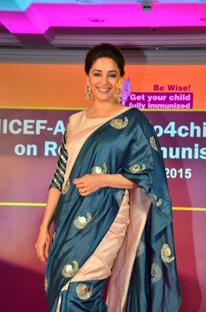 Madhuri Dixit Gorgeous in Cream and Blue Half and Half Saree