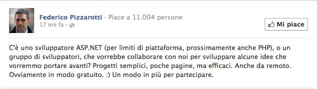 Dalla fan page di Federico Pizzarotti #nofreejobs