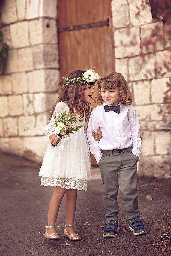 babc5a05b3300 Boho-chic Girls Dress, First Communion Dress,Flower Girl Off-White ...