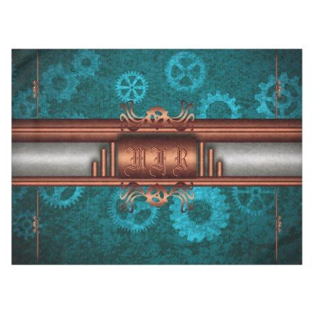 Monogram, Steampunk Deco fusion, copper and teal Tablecloth - click/tap to personalize and buy