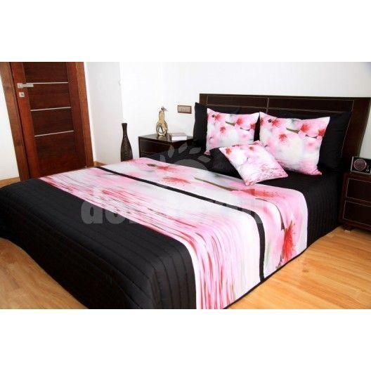 Ružovo čierny 3D prehoz na posteľ s kvetmi