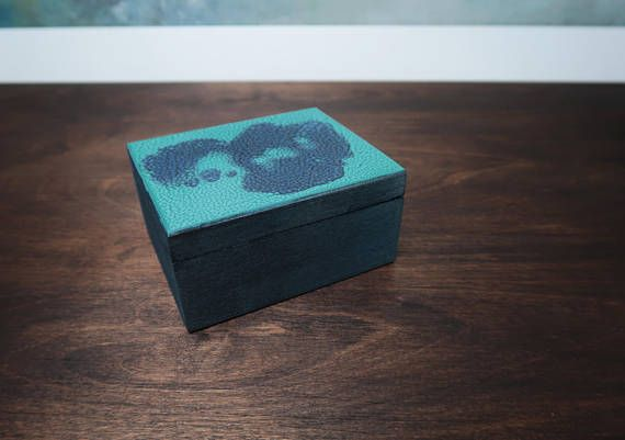 Small wooden box turquoise blue silver metalic shimmering dragon skin trinket keepsake gift for her hand painted treasury jewelry box