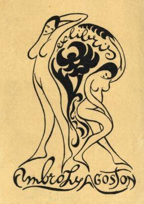 Bookplate by Tibor Bottik for Ambrózy Ágoston, 1904-1917