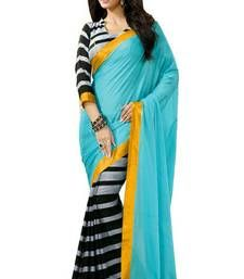 Buy Firozi printed bhagalpuri silk saree with blouse bhagalpuri-silk-saree online