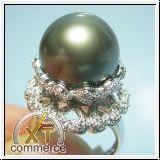 Tahitiperlring 750er Weißgold + 0.40 Karat Diamanten