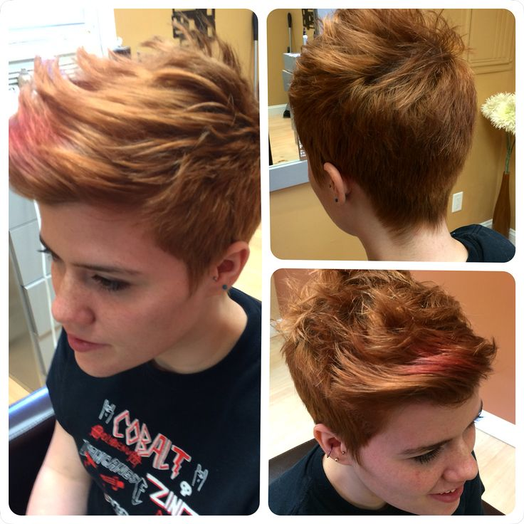 I did this cut for Rae, she has short back and sides with a longer middle faux hawk look. Can be worn up in the front, to either side or flatter, very versatile for a short cut!