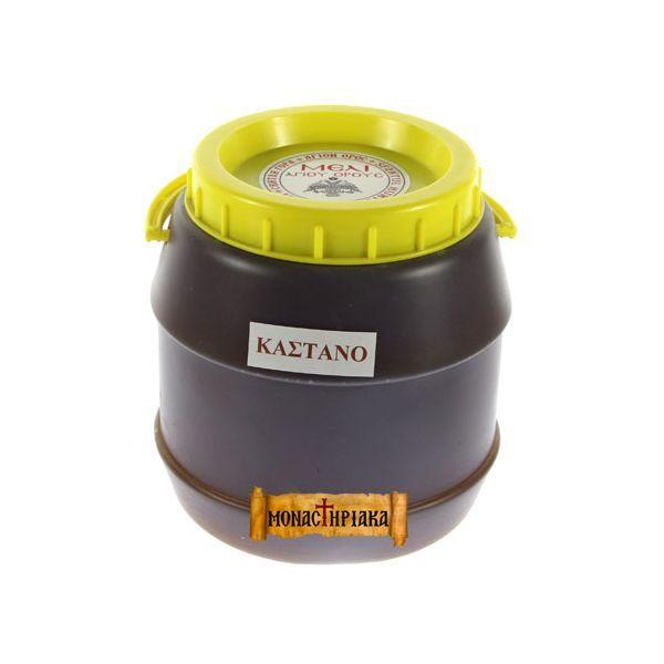 ΜΕΛΙ ΚΑΣΤΑΝΙΑΣ ΑΓΙΟΥ ΟΡΟΥΣ 3ΚΙΛΟ  Στα προστατευόμενα (συνθήκη NATURA 2000) δάση καστανιάς του Αγίου Όρους παράγεται το καλύτερο μέλι καστανιάς της Ελλάδος. Ιδιαίτερο και μοναδικό για τις ιδιότητές του με έντονη, πιπεράτη γεύση, ιδιάζον άρωμα, λιγότερο γλυκό από τα άλλα μέλια με ελαφρά πικρή επίγευση.     Βρείτε το εδώ : http://www.monastiriaka.gr/meli-kastanias-agiou-orous-3kilo-p-357.html