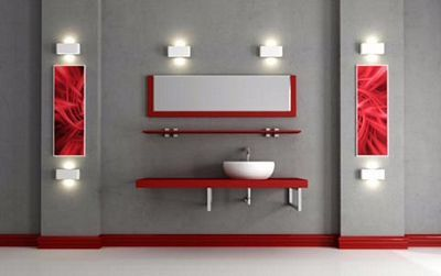 decoracin de baos en color gris y rojo para ms informacin ingresa en pinterest