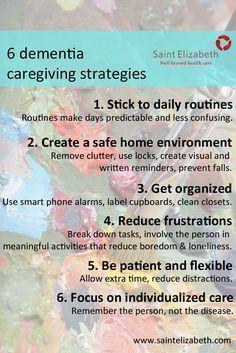 Six Tips for Dementia and Alzheimer's Care at Home (full article) #Alzheimers #dementia #caregiving http://www.saintelizabeth.com/Health-Info/Health-Resources/Dementia-and-Alzheimers-Disease/Six-Tips-for-Dementia-and-Alzheimer-s-Care-at-Home.aspx #elderlycaredementia #alzheimerscare