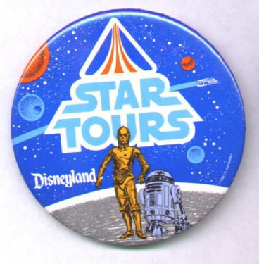 """STAR TOURS DISNEYLAND BUTTONS: Set of 2, like new, 1986, 3 inch round, """"Star Tours"""" logo that glows in the dark with """"Disneyland"""" below it on plain blue background (""""Glows in the Dark"""" sticker still on back!) and """"Star Tours"""" logo with small """"Disneyland"""" and full figure C-3PO and R2-D2 below it on a space background with the ride shuttle flying by. Both for $20"""