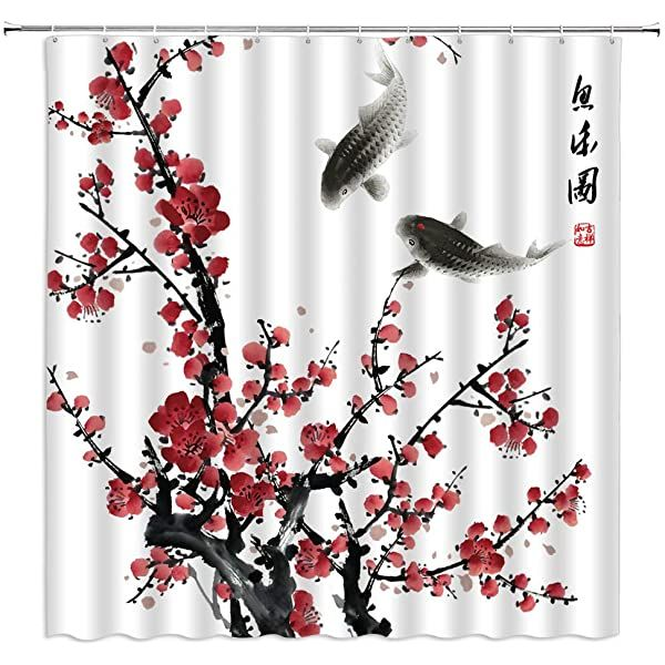 Amazonsmile Cherry Blossom Shower Curtain Flower Blossom Sakura Tree Branch Soft Pastel Watercolor Artwork In 2020 Japanese Ink Painting Asian Decor Japanese Painting