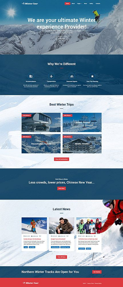 Travel website inspirations at your coffee break? Browse for more Joomla #templates! // Regular price: $75 // Sources available: .PSD, .PHP #Travel #Sport #Winter #Joomla