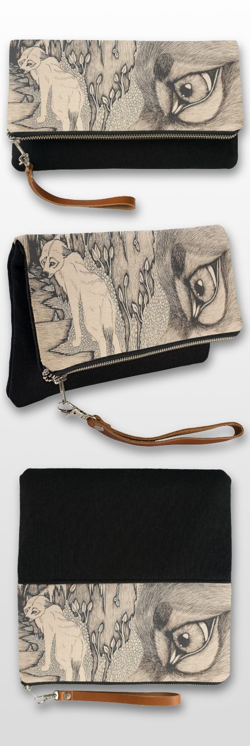 """Envy"" Black And White Illustrated Clutch Bag #wolf_products #wolf_art #wolf_illustration #wolf_couple #cute #art #wolf_gifts"