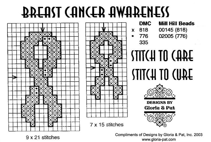 breast cancer ribbon (free cross stitch pattern from Gloria and Pat Designs)