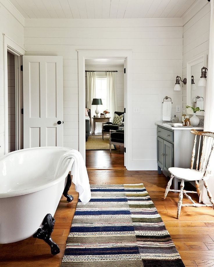 Southern Living   Cottage bathroom with white wood panels  claw foot tub   gray single  Love the color of wood floors. 458 best Privy images on Pinterest   Bathroom ideas  Bathrooms