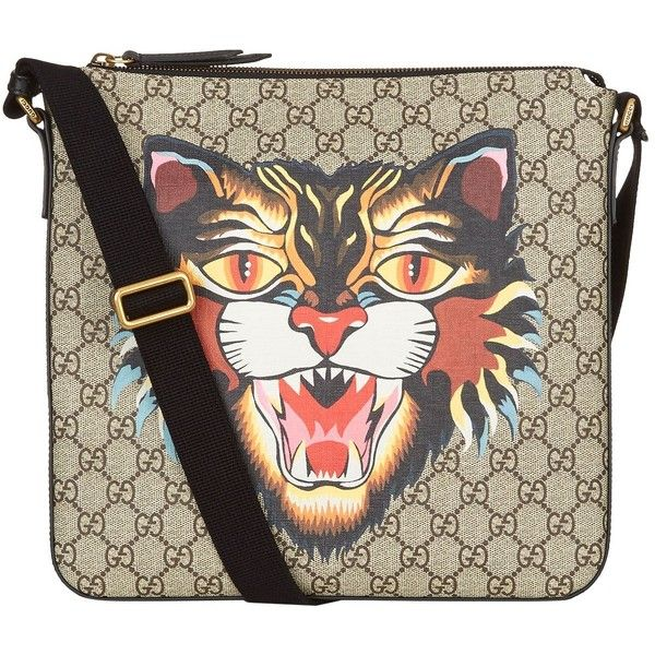 Gucci Angry Cat Supreme Messenger Bag (25,325 MXN) ❤ liked on Polyvore featuring bags, messenger bags, canvas messenger bag, cat bag, slim messenger bag, pocket bag and gucci