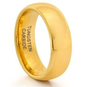 8MM Tungsten Carbide Classic Gold Mens Wedding Band Ring (Available Sizes 7-14 Including Half Sizes) (11), (rings)mens wedding rings