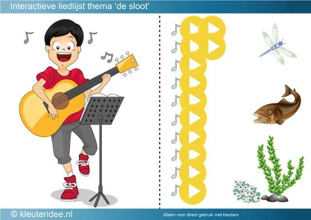 Interactieve liedlijst thema de sloot, kleuteridee, met veel liedjes en muziek, by ThingLink
