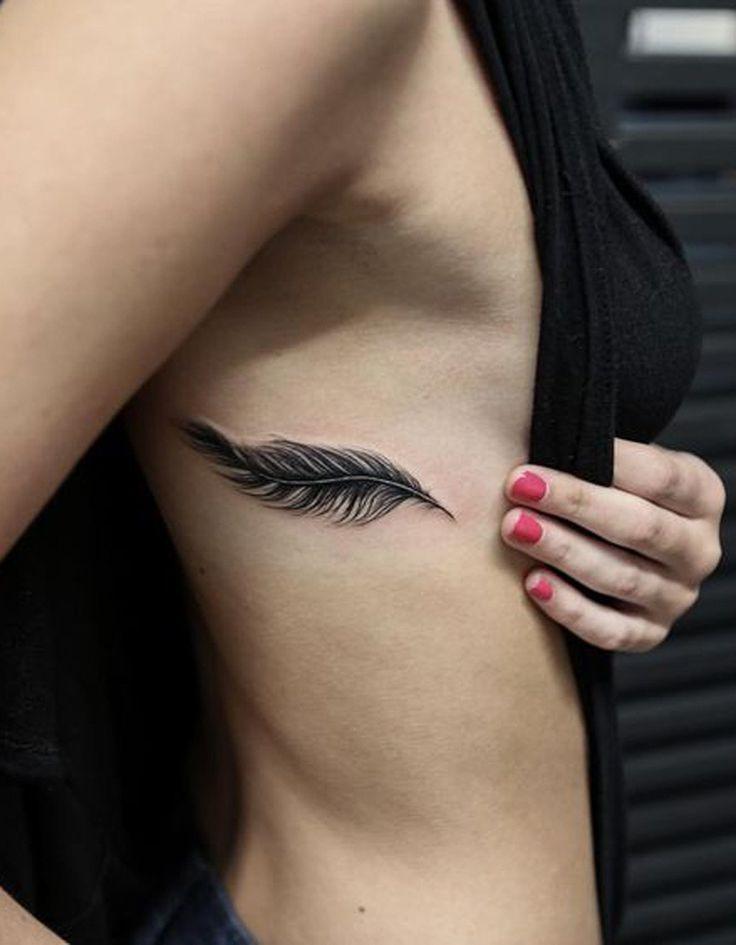 Black Henna Feather Rib Tattoo Ideas for Women at MyBodiArt.com