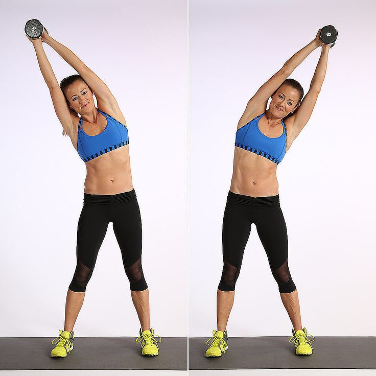 Focus on your obliques with this standing side bend move for 30 seconds.
