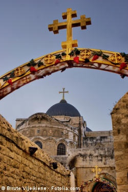 The Church of the Holy Sepulchre is considered the holiest shrine of Christendom. Believers hold that the Church encompasses the Hill of Calvary (Golgotha) where Jesus was crucified, as well as the cave (the Holy Sepulchre) where he was buried and rose from the dead (the Resurrection)