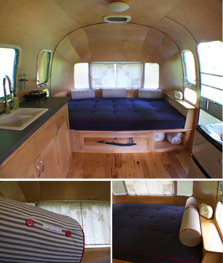 the upholstery has arrived for our '73 airstream land yacht remodel. we also have a sink with running water in beautiful maple cabinets made by paul of course. we only have three more furniture pieces to make and we are finished! …onto the couch, fridge cabinet, and tv cabinet.