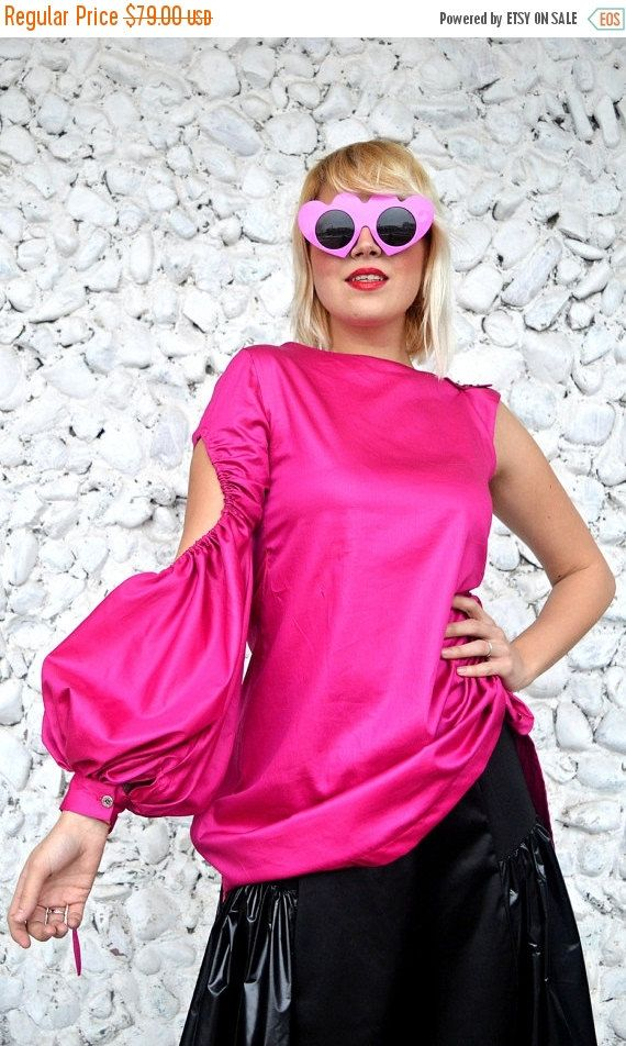 ON SALE 20% OFF Extravagant Pink Top / Asymmetrical Pink Blouse / Cotton Pink Top / Cotton Pink Blouse with Cropped Flared Sleeve Tt112 / Ur