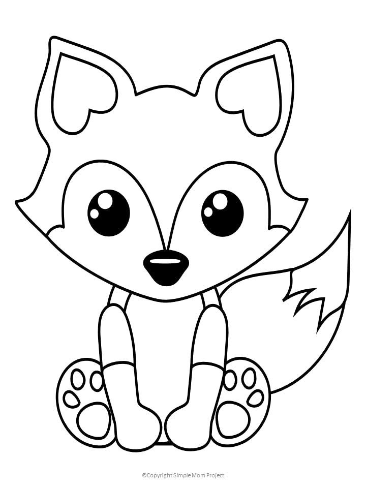 Free Printable Baby Fox Coloring Page Simple Mom Project In 2020 Fox Coloring Page Kids Printable Coloring Pages Animal Coloring Pages