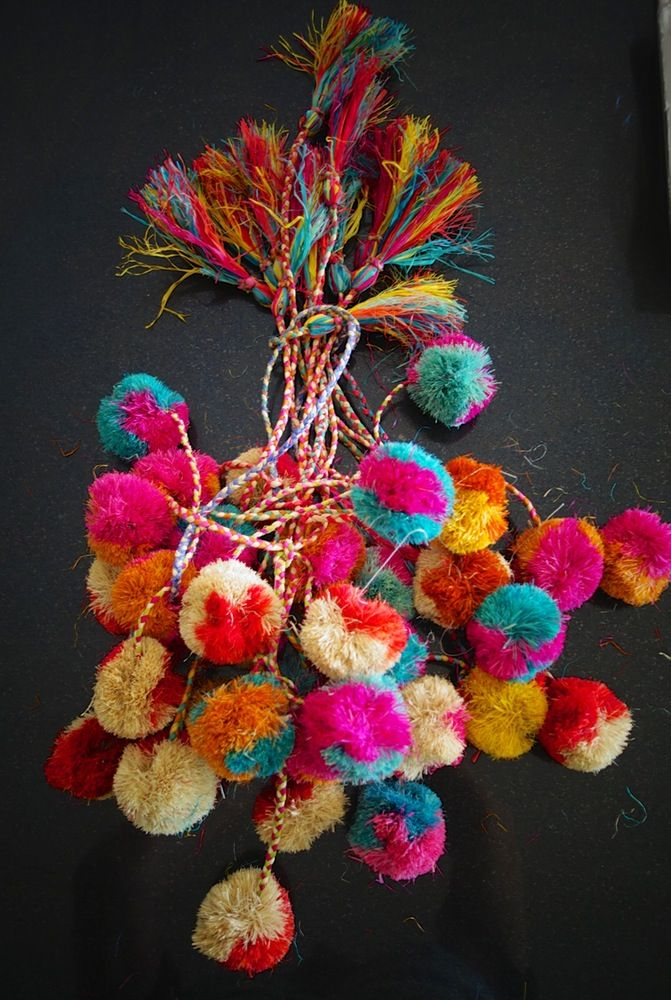 Image of Hand dyed natural raffia string Pom Poms, bright, colourful & unique