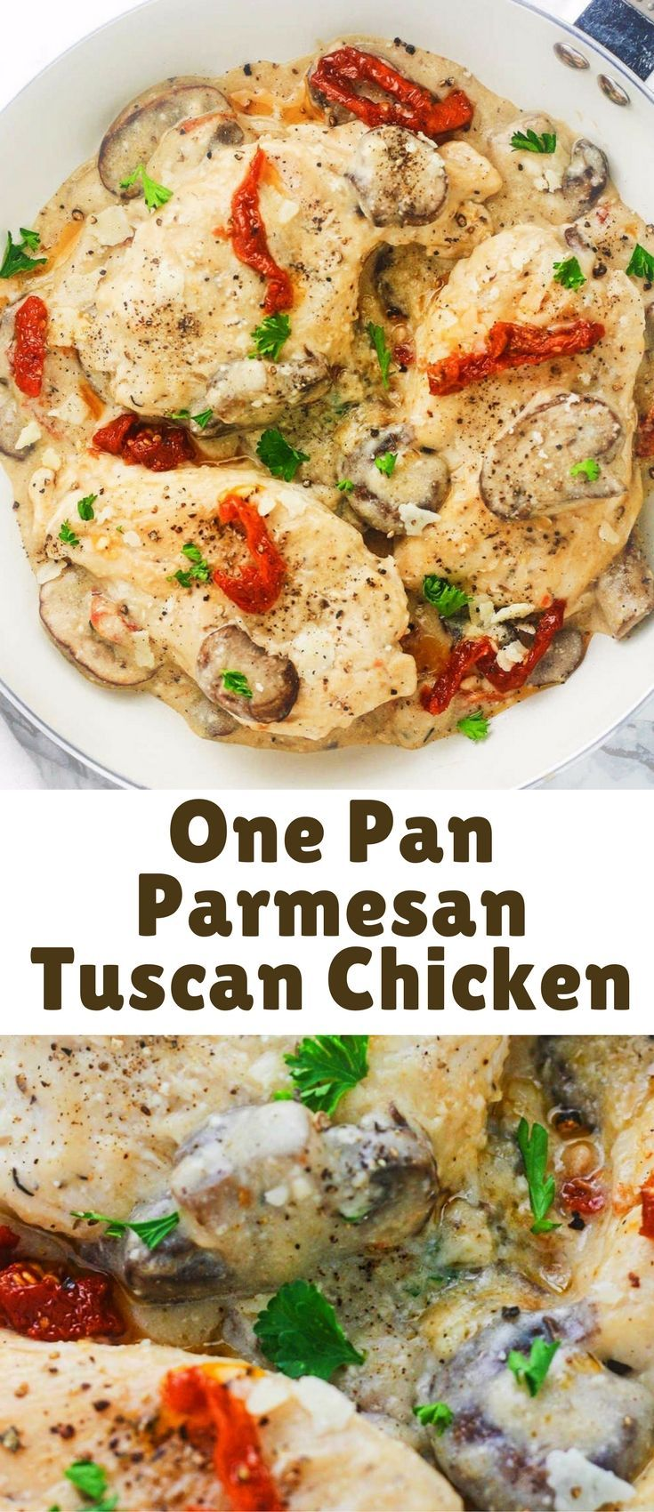 Tuscan chicken, seasoned to perfection and coated in a creamy, Greek yogurt, mushroom and Parmesan sauce.