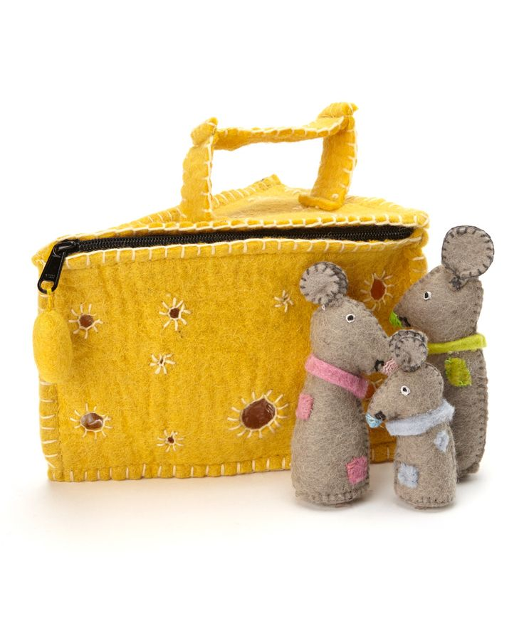 Felted Mouse & Cheese Bag Set