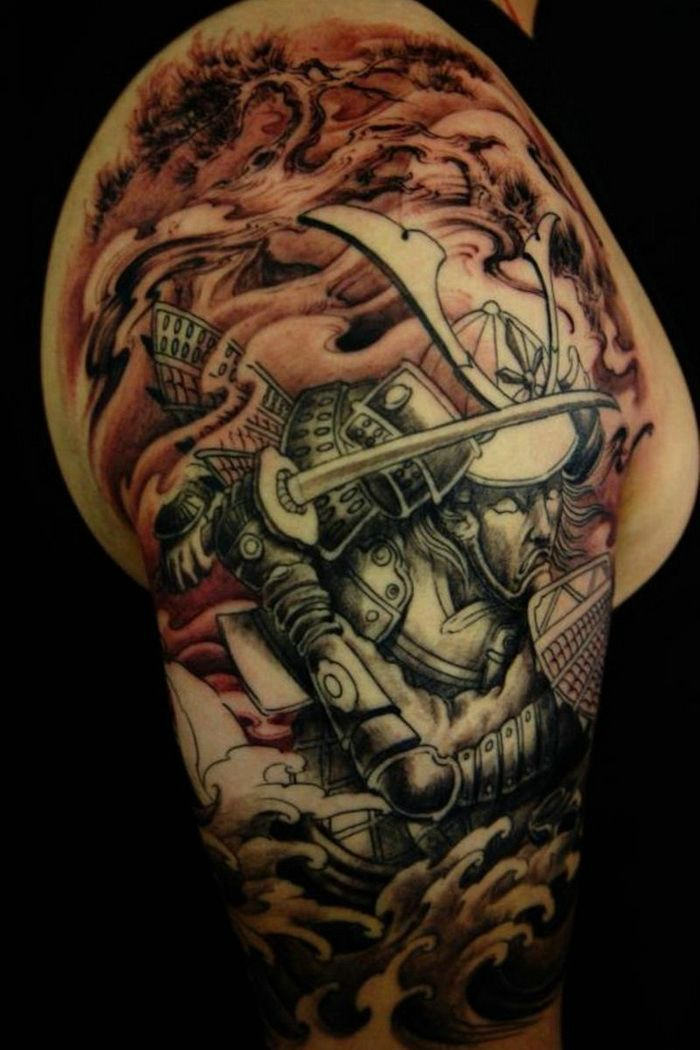 Tattoo Ideas Men Sleeve: Samurai Half Sleeve Tattoo Ideas For Men