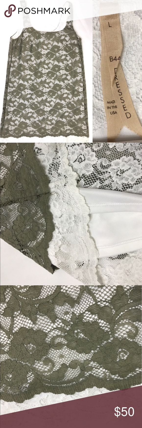 "Bailey 44 Dressed Olive Green White Lace Dress Gorgeous! Like new. Lace overlay tank dress. Solid white lining. Bottom is white Lace and peeks out at the hem. Top layer is olive green. Size large. 18"" across bust 35"" from shoulder to bottom hem. Made in the USA Bailey 44 Dresses"