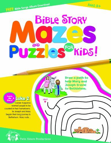 Bible Story Mazes & Puzzles For Kids 48 Page Activity Boo...