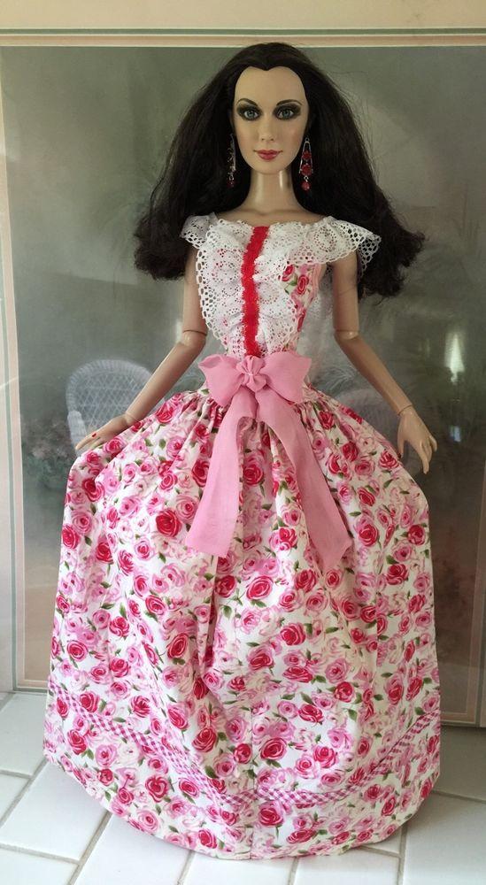 "OOAK Pink & Red ROSES Scarlett Dress HANDMADE FIT Tonner 22"" American Model Doll #Dolls"