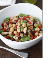 Mediterranean bean salad - also like this site for healthy whole food recipes