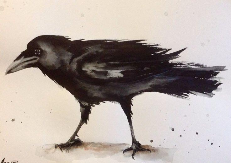 """Абстрактная акварель ворон птица ворон оригинал картины 8"""" х 11"""" подписана стенокардия   eBay"""