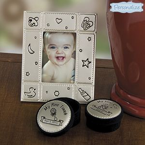 """Product # SM828541 - A wonderful gift to preserve baby's first milestones! Unique gift set includes a frame for 2""""x3"""" photo, and two 3-1/2""""H x 2""""Diam. keepsake boxes - one for First Tooth, and one for First Curl - in a satin-lined gift box. Frame (5""""H x 4""""W) has easel back. Personalization: 1 line (first curl) and 1 line (first tooth), up to 12 characters.  $19.98"""