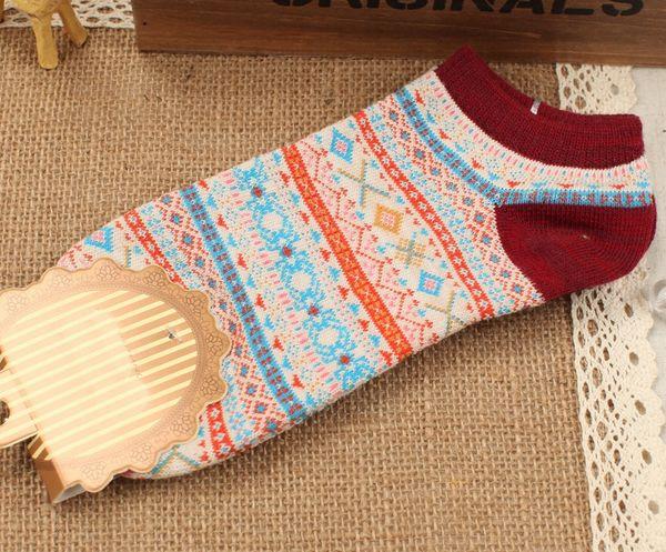 Bamboo Fiber Women Ankle Sock, antibacterial & deodorant & sweat absorption & non-slip & thermal, jacquard, geometric