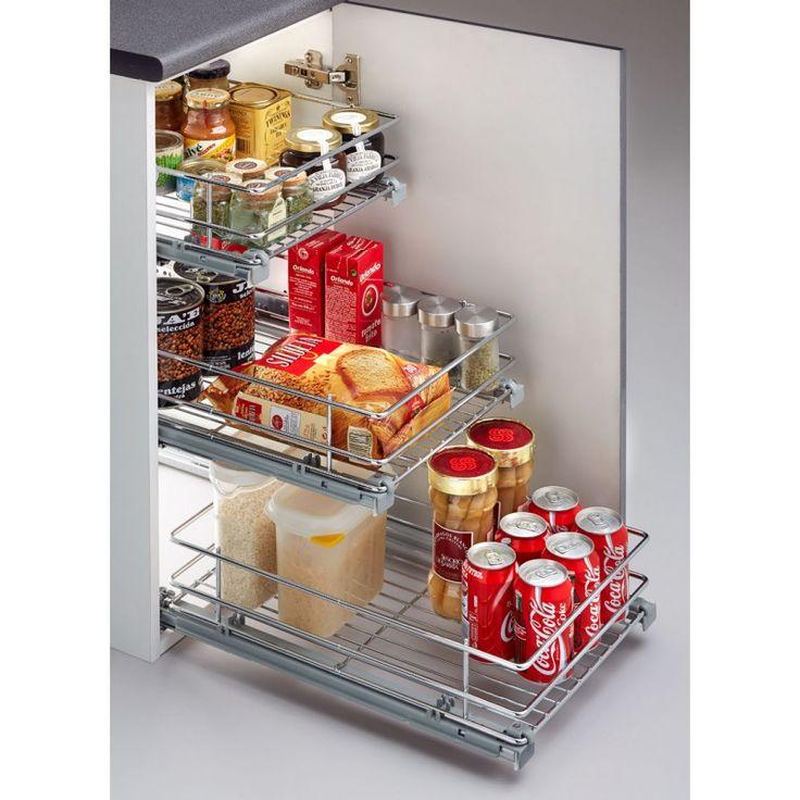 Cesto extraible con freno de alta calidad para armarios de for Despensas de cocina