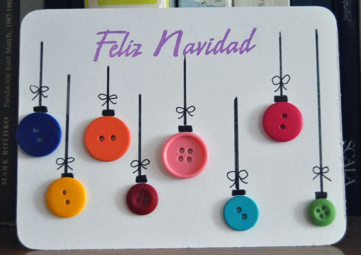 Tarjetas de Navidad Con Botones (14) - Imagenes Educativas