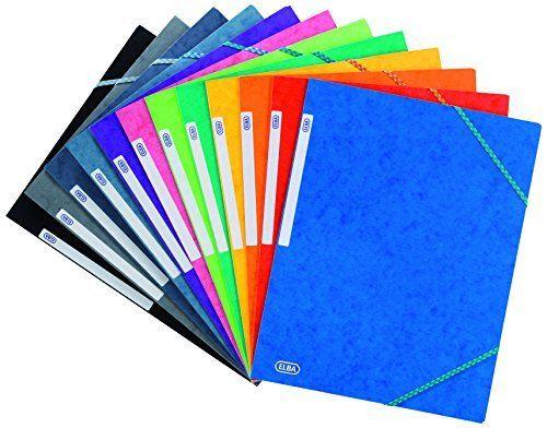 Elba - 100200901 - TopFile - Chemises Cartonnée avec Rabat Elastique A4 Couleurs Assorties - Lot de 10