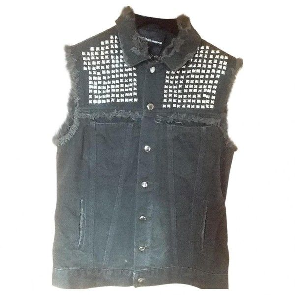 Pre-owned American Retro Black Denim - Jeans Jacket (2.610 NOK) ❤ liked on Polyvore featuring outerwear, jackets, black, women clothing jackets, sleeveless denim jacket, sleeveless jacket, studded jacket, denim jacket and american retro