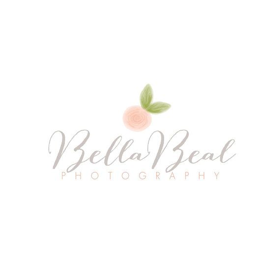 Love this font and would love a cute watercolor peach like this!   Photography logo - OOAK logo - premade Photography Logo - flower logo